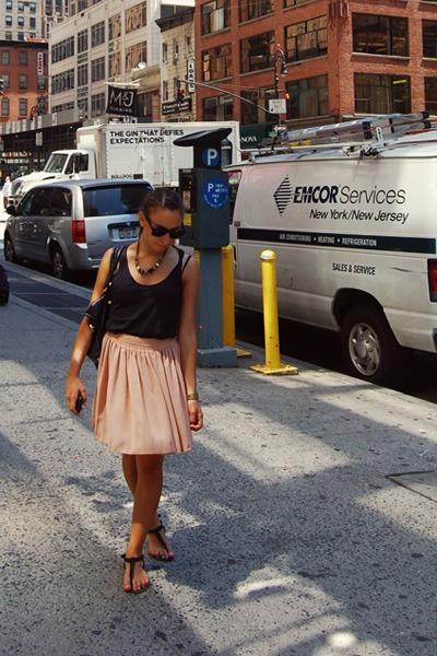 Office sandals - balenciaga bag - H&M vest - American Apparel skirt