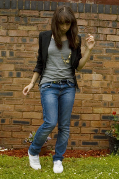 white Keds shoes - skinny denim Topshop jeans - black Oasis blazer