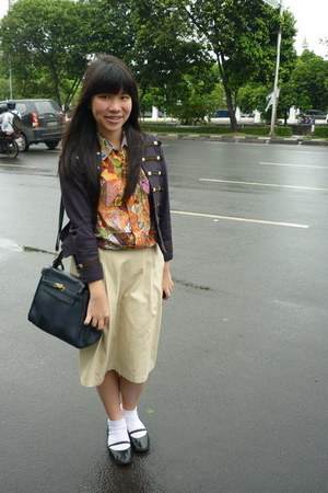 orange shirt - black Diana Rikasari for Bloop Endorse jacket - beige skirt - bla