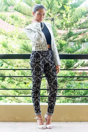 print Miss Selfridge blazer - print Topshop pants - silver Aldo heels
