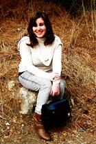black vintage bag - brown Primark boots - heather gray Target jeans