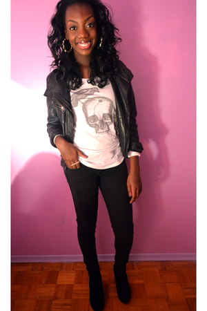 black leather jacket danier leather jacket - white skull tee Aritzia t-shirt