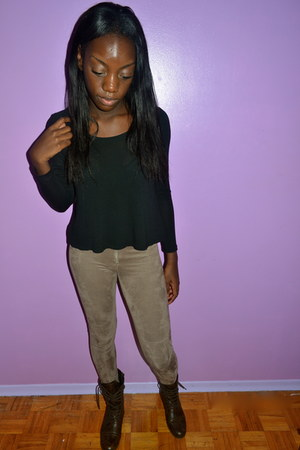 dark brown American Eagle boots - tan suede H&M leggings - black Aritzia shirt