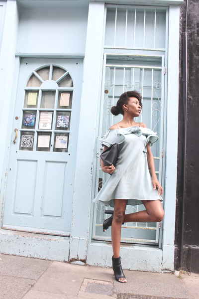 black Missguided boots - aquamarine ruffle neck asos dress