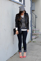 stripe Lulu Guinness x Uniqlo t-shirt - Forever 21 jeans - H&M hat
