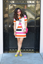 H&M dress - coach bag - Zara vest - Forever 21 necklace - neon H&M heels