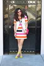H&M dress - coach bag - Zara vest - Forever 21 necklace - neon H&M heels