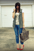 Gap heels - H&M Kids jeans - JCrew top - unknown vest