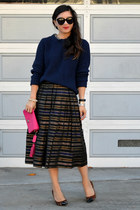 midi thrifted skirt - navy blue 31 Phillip Lim x Target sweater - pink coach bag