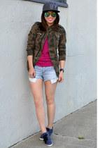 camo Zara jacket - SF Giants hat - stripe Forever 21 shorts - H&M sneakers