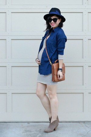 stripes Amour Vert dress - Forever 21 hat - boyfriend Old Navy shirt