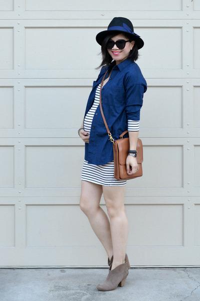 stripes Amour Vert dress - Forever 21 hat - boyfriend Old Navy shirt