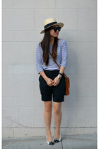 stripes H&M shirt - thrifted coach bag - H&M shorts - le bunny bleu flats