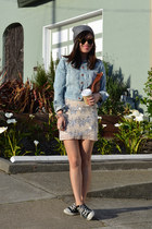 sequin H&M skirt - H&M hat - denim H&M jacket - Clare Vivier bag