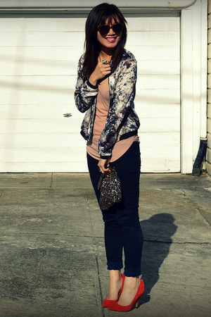 watercolor jacket - Paige jeans - Gap heels