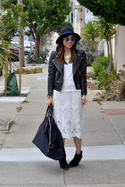 weekender Cuyana bag - asos boots - embroidered Zara dress - Forever 21 hat