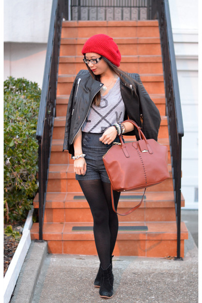 leather H&M jacket - asos boots - red beanie Forever 21 hat
