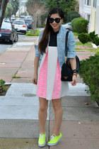 neon Keds sneakers - Minju Kim x H&M dress - denim H&M jacket - Prada bag