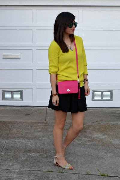 thrifted sweater - coach bag - Aldos sunglasses - black American Apparel skirt