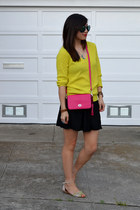 thrifted sweater - coach bag - Aldos sunglasses - black American Apparel skirt