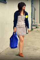 Ruehl dress - baggu bag - f21 cardigan - DV by dolce vita loafers