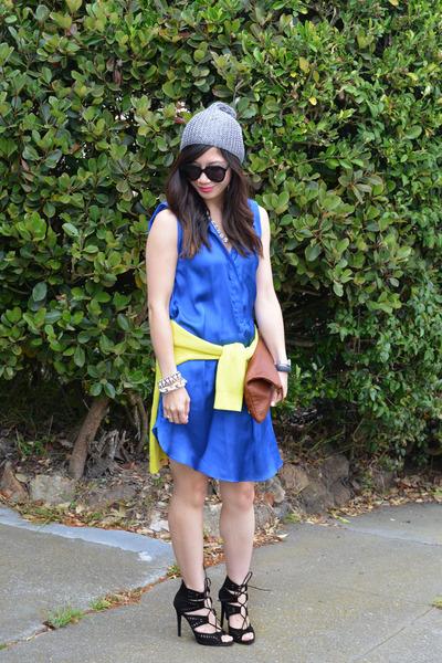 cobolt blue H&M dress - H&M hat - thrifted sweater - Clare Vivier bag