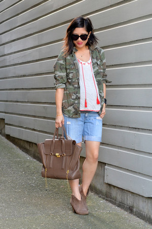 distressed Forever 21 shorts - camo Ross jacket - 31 Phillip Lim bag