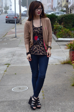 f21 top - f21 jeans - Zara cardigan - Cynthia Rowley for Target wedges