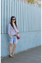 stripes H&M shirt - red tory burch bag - distressed Forever 21 shorts