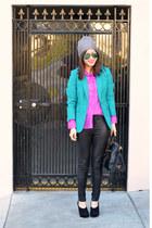 H&M hat - H&M blazer - H&M shirt - Prada bag - faux leather Forever 21 pants