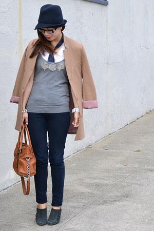 camel H&M jacket - Paige jeans - Michael Kors bag - American Eagle t-shirt