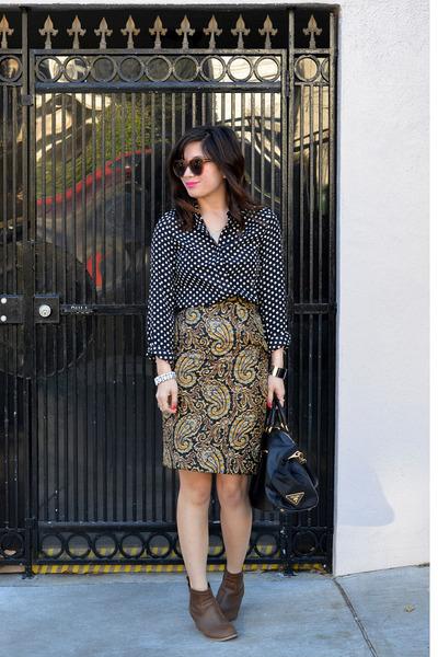 JW Anderson x Topshop skirt - Old Navy boots - polka dot Popbasic shirt