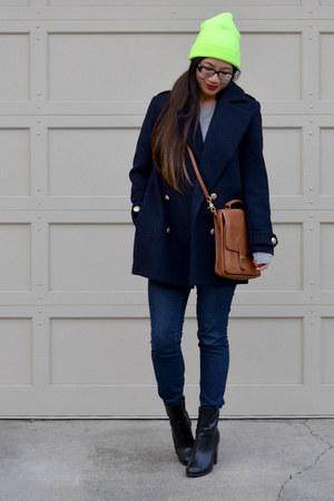 H&M boots - H&M coat - beanie asos hat - asos sweater - willis coach bag