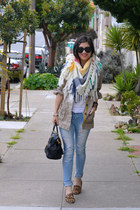 Forever 21 scarf - distressed Ross jeans - Old Navy jacket - Prada bag