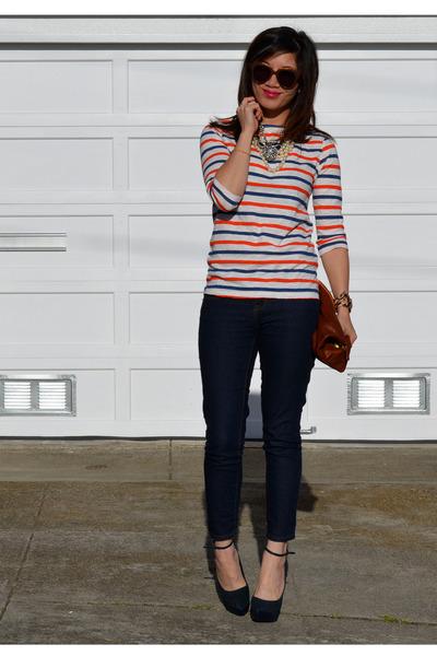stripe Zara Kids t-shirt - Forever 21 jeans - Clare Vivier bag