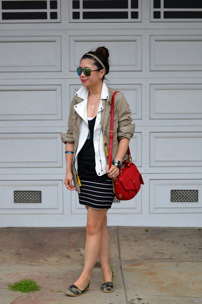 tory burch bag - Forever 21 shoes - Old Navy jacket - Forever 21 skirt