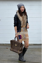 H&M hat - Hunter boots - Marni for H&M dress - unknown brand jacket