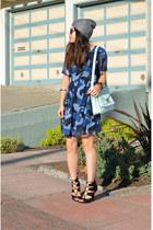 camo Boohoo dress - beanie H&M hat - loeffler randall bag - Zara heels