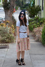 Urban-outfitters-hat-zara-heels-polka-dot-kate-spade-skirt