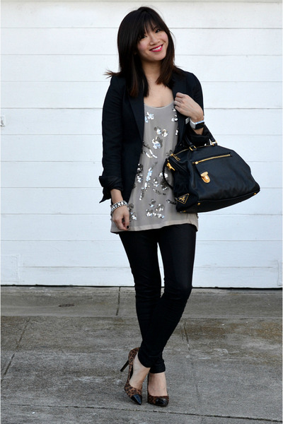 sequin Club Monaco top - black H&M blazer - Prada bag - leopard Loft heels