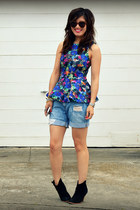 peplum H&M top - asos boots - f21 shorts