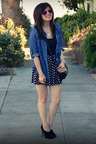 Max Studio heels - chambray thrifted shirt - polka dot f21 shorts