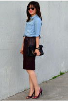 H&M skirt - chambray H&M Kids shirt - Betsey Johnson bag - Enzo Angiolini heels