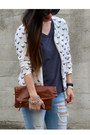 Distressed-ross-jeans-sequin-thrifted-jacket-clutch-claire-vivier-bag