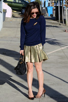 gold brocade Club Monaco skirt - navy Forever 21 sweater - Prada bag