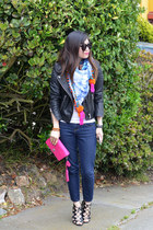 asos scarf - Forever 21 jeans - leather H&M jacket - coach bag