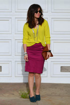 Forever 21 shoes - chartreuse thrifted sweater - Clare Vivier bag