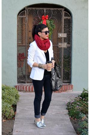 white Zara blazer - silver Nordstrom shoes - Forever 21 jeans