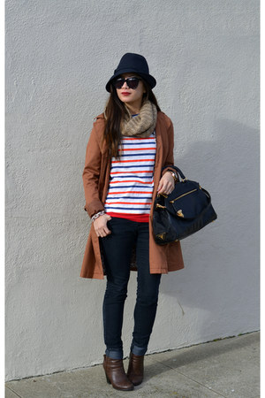 trench H&M coat - Ross boots - Forever 21 jeans - Reiss hat