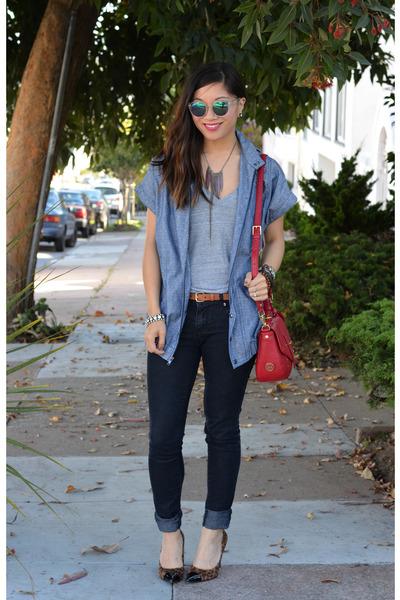 Forever 21 jeans - chambray Derek Lam x Kohls jacket - tory burch bag